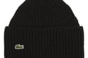 Lacoste Ribbed Wool Winter Beanie in Black