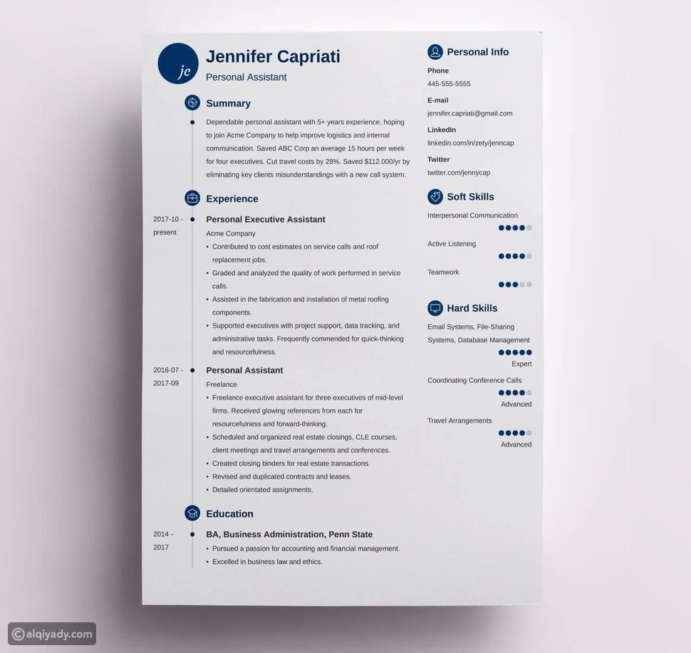 النموذج المثالي لكتابة سيرة ذاتية أثناء البحث عن وظيفة