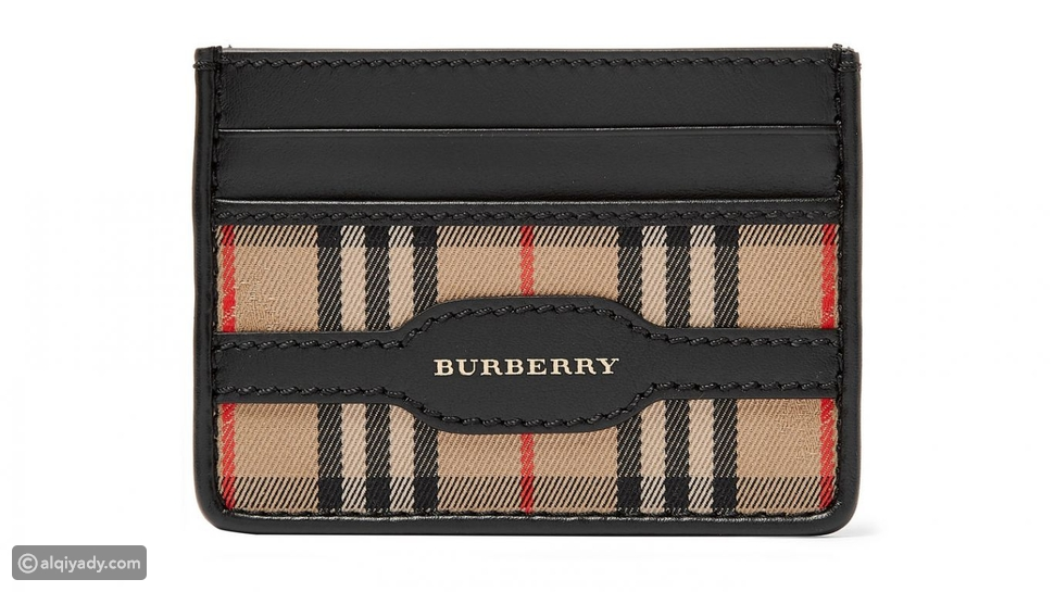 3- Burberry Checked Twill and Leather Cardholder: