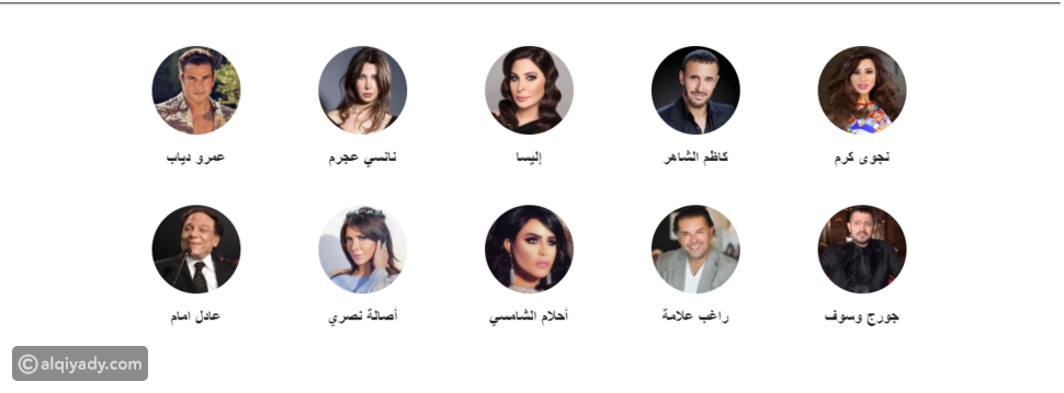 أعلى 10 فنانين بقائمة أفضل 100 شخصية عربية