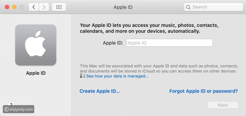 إنشاء حساب Apple ID وتسجيل الدخول إليه
