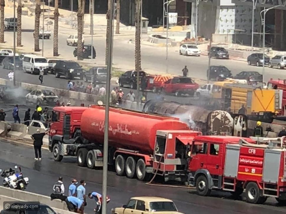 حريق هائل أعلى الطريق الدائري في مصر