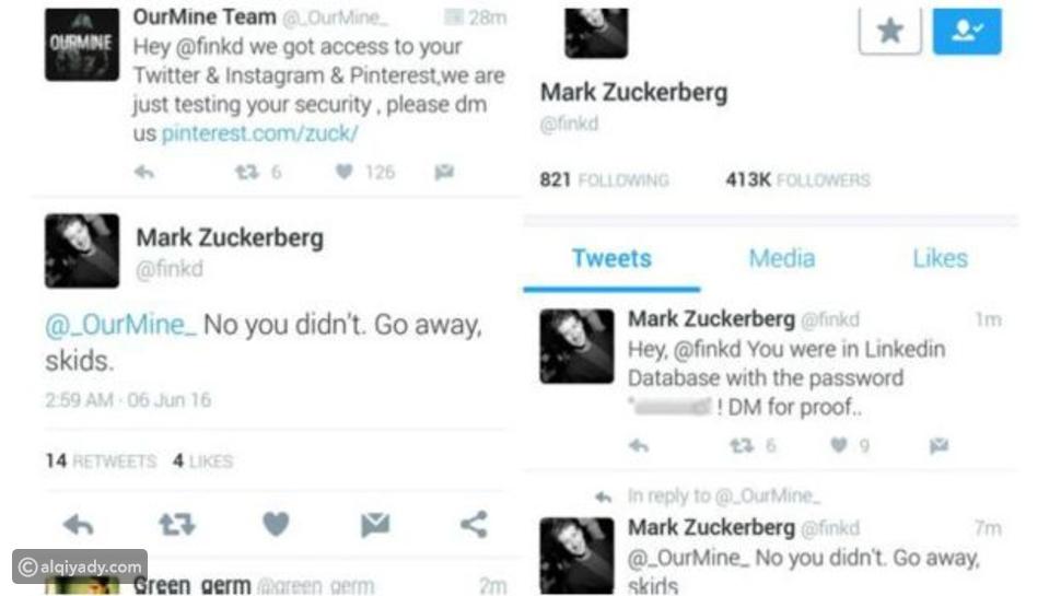 اختراق حسابات مارك زوكربيرغ على الشبكات الاجتماعية