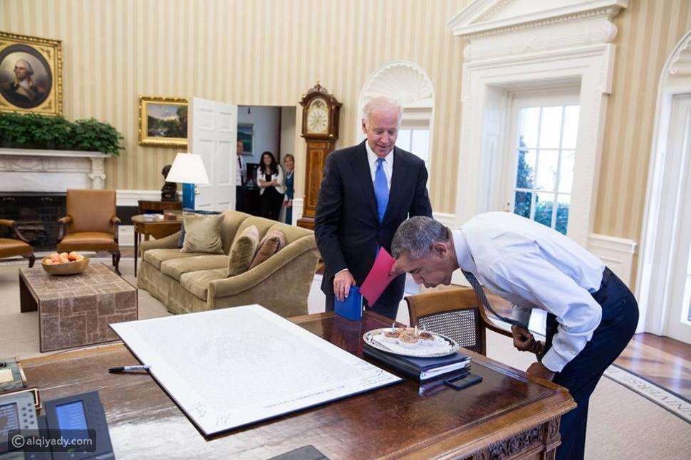 صورة: أوباما يحتفل بعيد ميلاده في البيت الأبيض للمرة الأخيرة