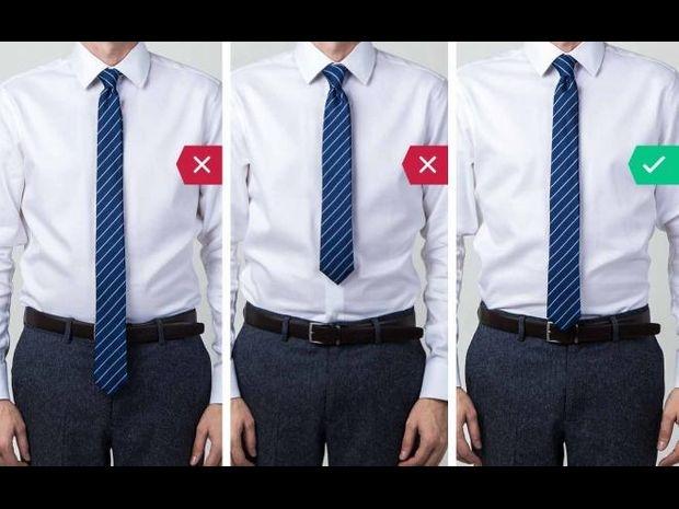 يجب أن تكون ربطة العنق في مستوى طول مناسب