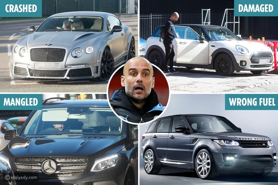 صور: جوارديولا يدمر 4 سيارات فارهة قيمتها 600 ألف دولار