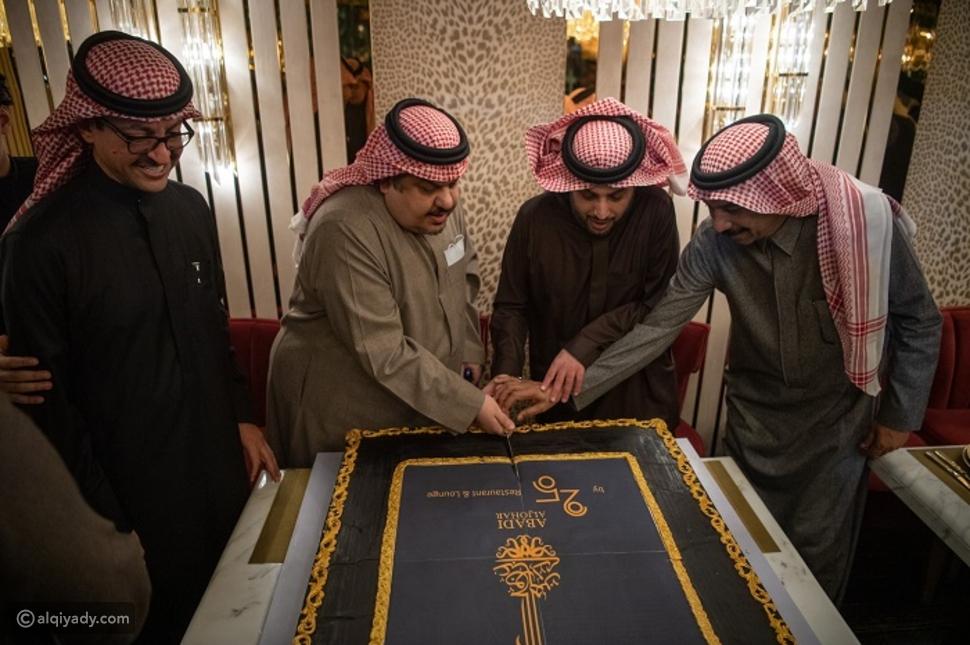 عبادي الجوهر في حفل افتتاح مطعمه الجديد