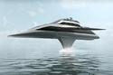 """فلاي كروزر Fly Cruiser: صممّه البريطاني """"فيل بولي"""". ويستطيع اليخت الطيران، ومغادرة قاعدته إلى الجو، وتبلغ سرعته 100 عقدة في الساعة، ويتميز بفخامة تصميمه من الداخل، وقدراته التكنولوجية الفائقة."""